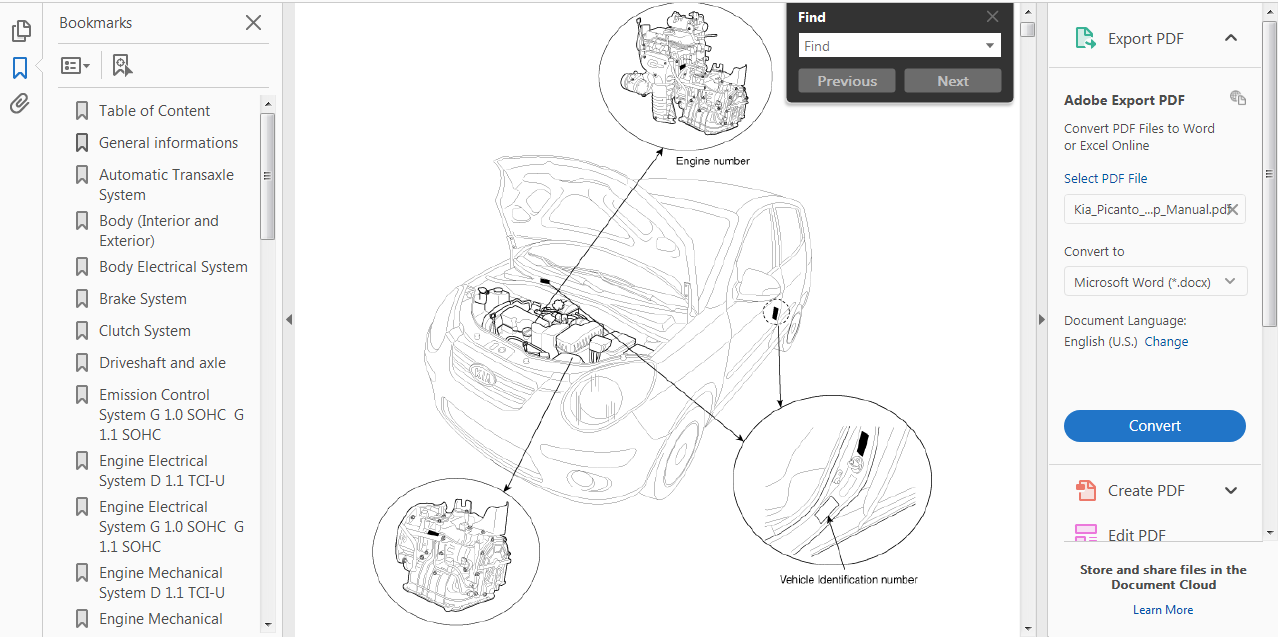 Official Workshop Repair Manual For Kia Picanto  Sa  2003