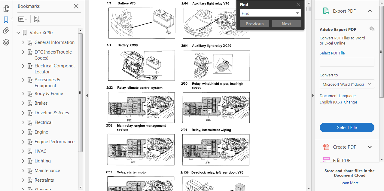Official Workshop Repair Manual For Volvo Xc90 2002